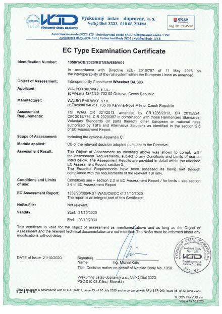 TSI Certificate for wheelsets BA 303