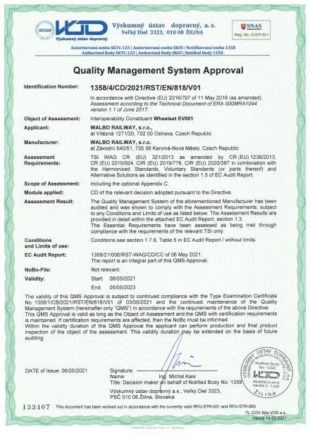 TSI Zertifikate für RadsätzeEV001