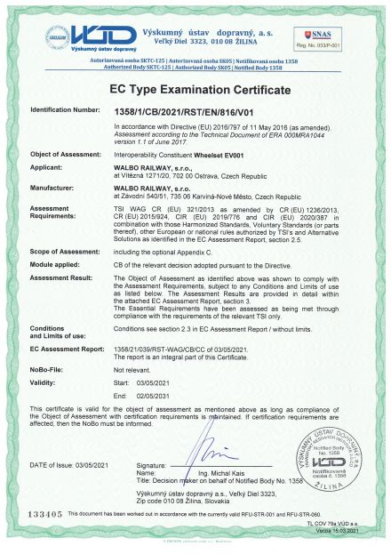 TSI Zertifikate für Radsätze EV001