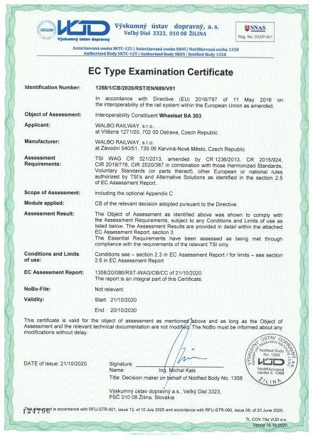 TSI Zertifikate für Radsätze BA 303