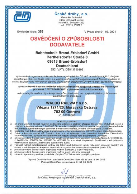 Certificate of Czech railways – Production of railway axle forgings
