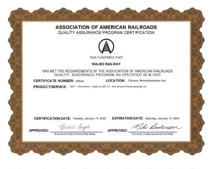 Certifikát AAR - Association of American Railroads
