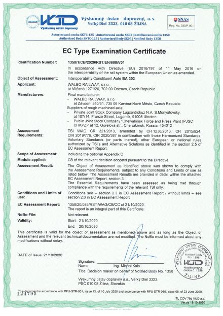 TSI Certificate for axles BA 302