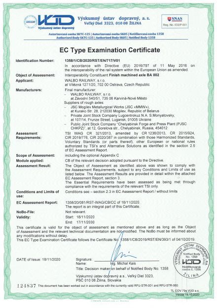 TSI Certificate for axles BA 002